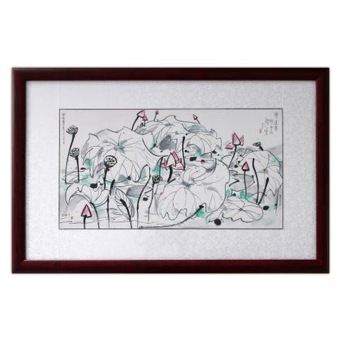 Lotus Flowers II by Wu Guanzhong Chinese Painting Solid Wood Frame 31 x 20