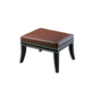 "18"" Burnt Sienna and Black Faux Leather Ottoman with Black Wooden Legs"