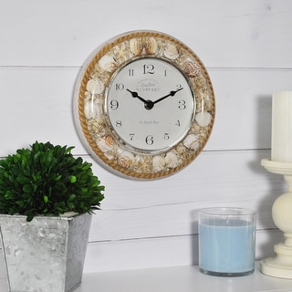 FirsTime & Co.® Isle Sands Wall Clock, American Crafted, Rustic White, Resin, 7.5 x 2 x 7.5 in - 7.5 x 2 x 7.5 in