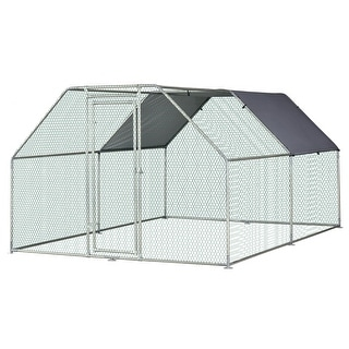 Link to PawHut Galvanized Metal Chicken Coop Cage with Cover, Walk-In Pen Run 9' W x 12' D x 6.5' H - Silver Similar Items in Dog Containment