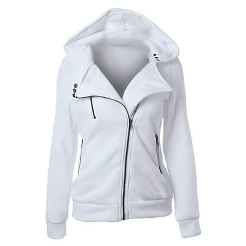 QZUnique Women's Fashion Long Sleeve Solid Color Zip Up Hoodie Sweatshirt