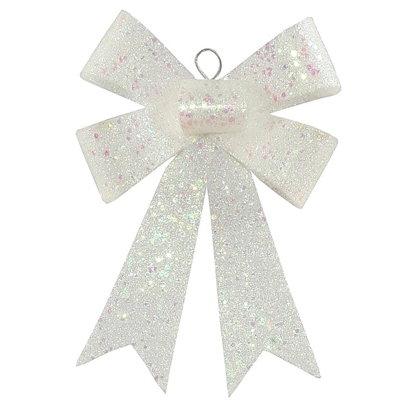 "7"" Clear Iridescent Sequin and Glitter Bow Christmas Ornament"