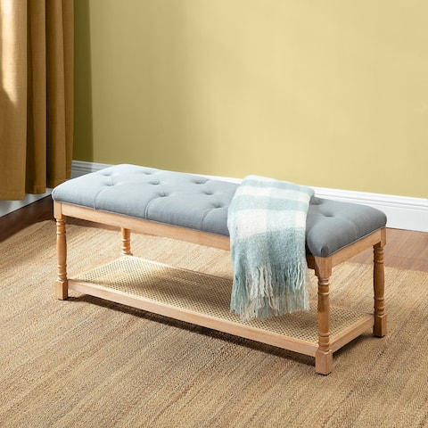 Cyclades Upholstery Rattan Bench with Storage Space