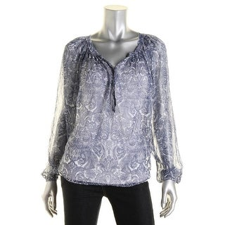Love Sam Womens Henley Top Sheer Printed - xs