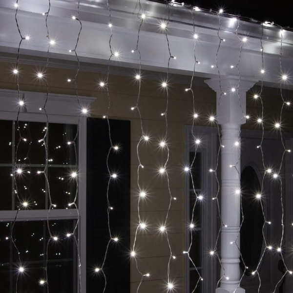"""Wintergreen Lighting 67288 6' Long Indoor Curtain LED 5mm Icicle Lights with 6"""" Spacing and White Wire"""