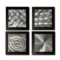 Statements2000 Set of 4 Black/Silver Metal Wall Art Accents by Jon Allen - 4 Squares Black