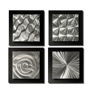 Statements2000 Black/Silver Metal Wall Art Accent Sculpture by Jon Allen (Set of 4) - 4 Squares Black