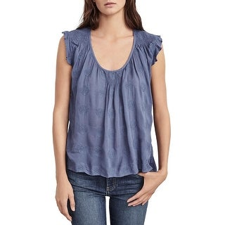 VELVET BY GRAHAM & SPENCER Womens Casual Top Embroidered Ruffled
