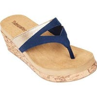Tidewater Sandals Women's Beach Haven Wedge Navy/Gold