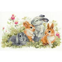 """Funny Rabbits Counted Cross Stitch Kit-15.75""""X9.75"""" 14 Count"""