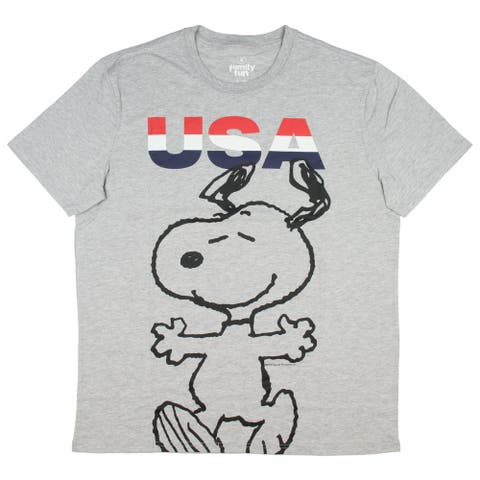Peanuts Mens' Snoopy USA Graphic T-Shirt