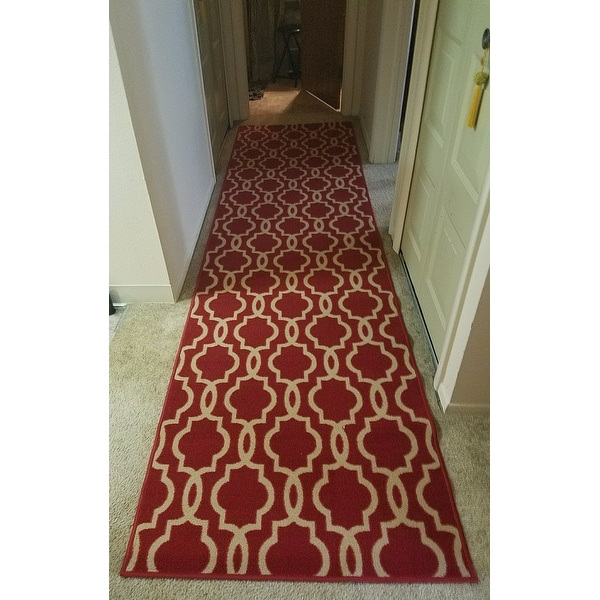 Fancy Moroccan Trellis Non Slip Rubber Backed Runner Rug 2 7 X 10 Free Shipping Today 11540402
