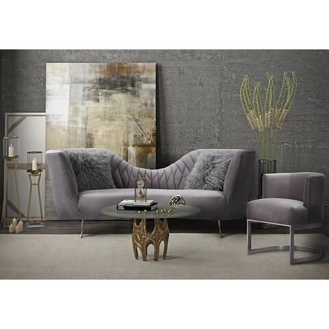 Eva Handmade Grey Velvet Upholstered Chair
