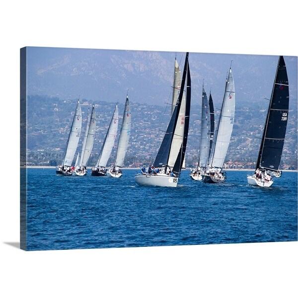 """Sailboat race in the Pacific Ocean, Santa Barbara Harbor, Santa Barbara, California"" Canvas Wall Art"