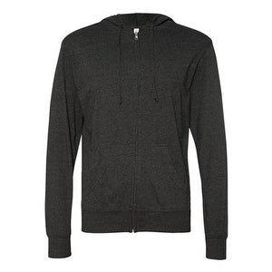 Independent Trading Co. Lightweight Jersey Hooded Full-Zip T-Shirt - Charcoal Heather - L
