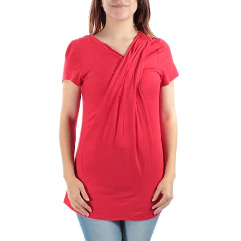 NY COLLECTION Womens Red Short Sleeve V Neck Top Size: S