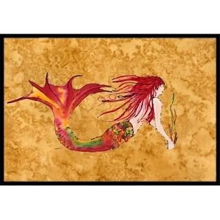 Carolines Treasures 8727JMAT Ginger Red Headed Mermaid On Gold Indoor & Outdoor Mat 24 x 36 in.