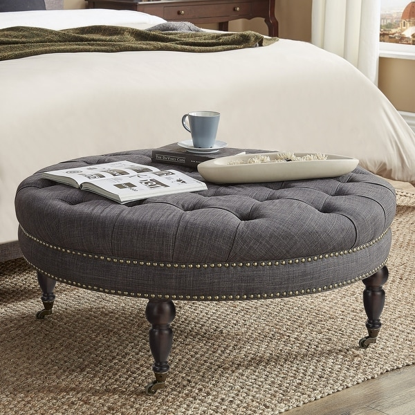 Solaine Tufted Linen Round Castered Round Ottoman Bench by iNSPIRE Q Artisan. Opens flyout.