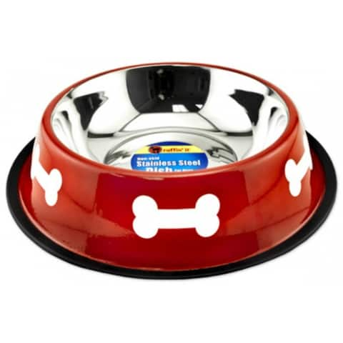 Ruffin' It 19264 Stainless Steel Fashion Bowl, 64 Oz, Red with White Bone