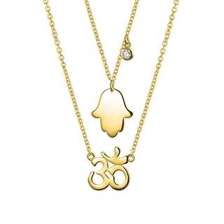 Gold Plated Silver Hamsa Hand Ohm Aum Om CZ Necklace Set