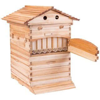 Gymax Wooden Frame Auto Flow 7 Combs 7 Honey Tubes Beehive Kits Bee House Backyard