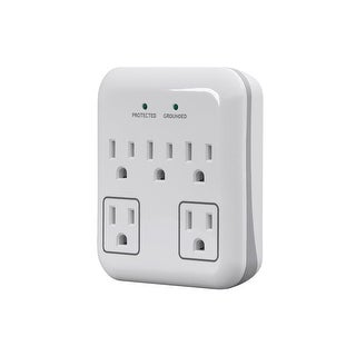 5 Outlet Small Appliance Surge Protector with 2 Transformer Outlets, 900 Joules, White