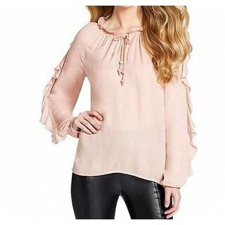 Jessica Simpson NEW Blush Pink Womens Medium M Ruffled Tie-Neck Blouse