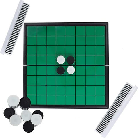 IQ Toys Classic Reversi Board Game for 2 Players, 9.75 Inch Foldable Magnetic Board Great for Travel and On The Go