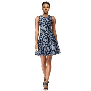 Tommy Hilfiger Floral Print Lace Fit & Flare Sleeveless Dress - 10