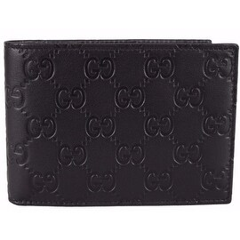 NEW Gucci Men's 292534 Black Calf Leather GG Guccissima W/Coin Bifold Wallet
