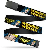 Blank Black Bo Buckle Wonder Woman W Face Close Up Black Webbing Web Web Belt