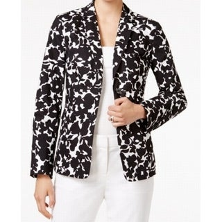 Tommy Hilfiger NEW Black Women's Size 12 Floral Print Open Jacket
