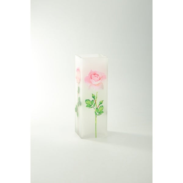 "11"" Clear Garden Roses Printed Square Flower Hand Blown Glass Vase - N/A"