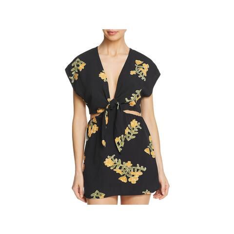 ViX Paula Hermanny Womens Amber Floral Cut-Out Dress Swim Cover-Up - Black - M