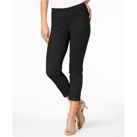 "Style & Co Women's Rolled-Hem Skinny Pants Black Size 10"" - 10"