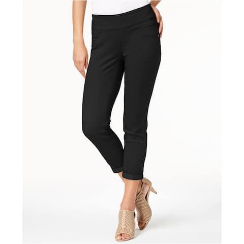 "Style & Co Women's Rolled-Hem Skinny Pants Black Size 14"" - 14"