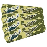 Green Military Fighter Jet Custom Designer 42in Ceiling Fan Blades Set - Multi