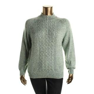 Karen Scott Womens Cable Knit Mock Turtleneck Pullover Sweater