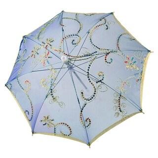 Unique Bargains Gold Tone Edge Floral Pattern Sequin Decor Blue Nylon Mini Lace Parasol Umbrella