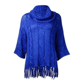 NY Collection Women's Cowl Sequined Fringed Dolman Sweater - Blue - s