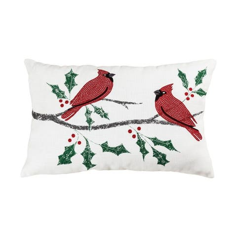 Red Cardinal Birds with Holly Holiday Lumbar 16x26-inch Pillow Cover Only Snow/Red/Green Colors