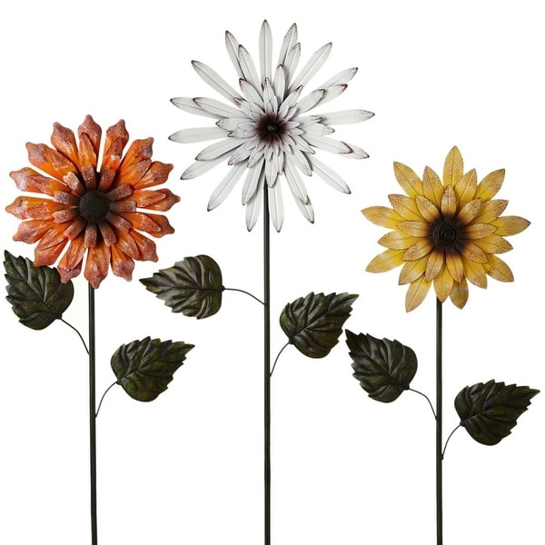 Shop Set of 3 Orange and Yellow Solar Metallic Flower for Garden Stakes - Free Shipping Today - Overstock - 22678788