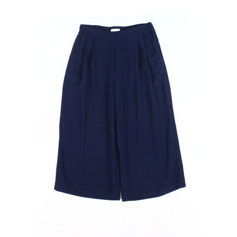 Elodie Navy Blue Women's Size XL Cropped Wide Leg Solid Pants