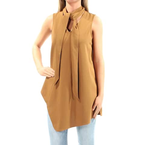 ALFANI Womens Brown Sleeveless Tie Neck Top Size: S