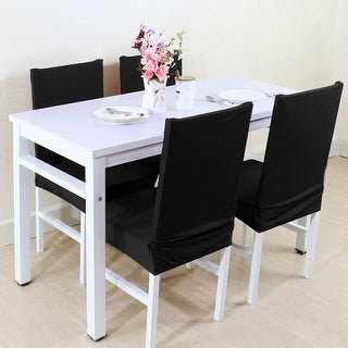 Unique Bargains Black Spandex Removable Short Dining Chair Cover