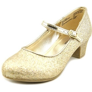 Olive & Edie Lucina Youth Round Toe Canvas Gold Mary Janes