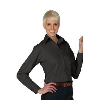 Women's Open Neck Poplin Long Sleeve Blouse