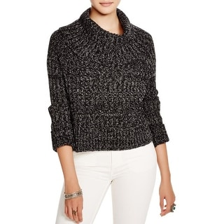 Free People Womens Crop Sweater Marled Turtleneck
