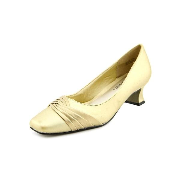 Easy Street Tidal Women Round Toe Canvas Gold Heels