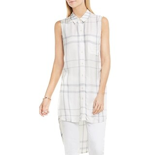 Two by Vince Camuto Womens Tunic Top Sleeveless Plaid